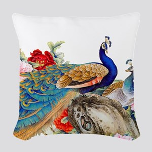 Traditional Chinese Peacocks Woven Throw Pillow
