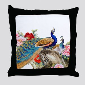 Traditional Chinese Peacocks Throw Pillow
