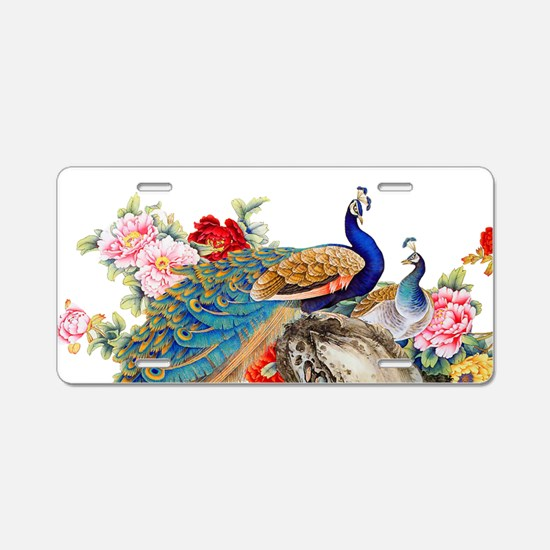 Traditional Chinese Peacock Aluminum License Plate
