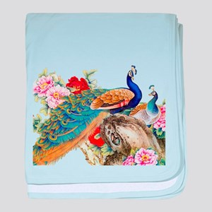 Traditional Chinese Peacocks baby blanket