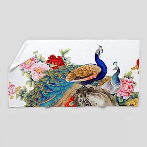Traditional Chinese Peacocks Beach Towel