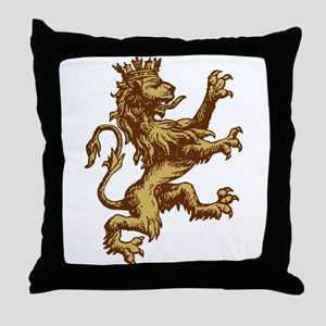 Gold Lion King Throw Pillow
