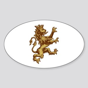 Gold Lion King Oval Sticker