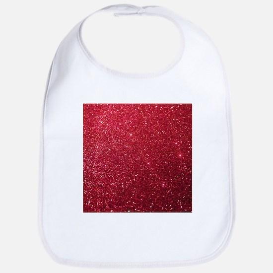 Girly Chic Red Glitter Bib