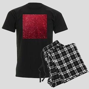 Girly Chic Red Glitter Men's Dark Pajamas
