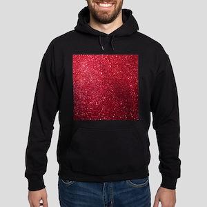 Girly Chic Red Glitter Hoodie (dark)