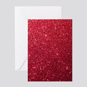 Girly Chic Red Glitter Greeting Cards