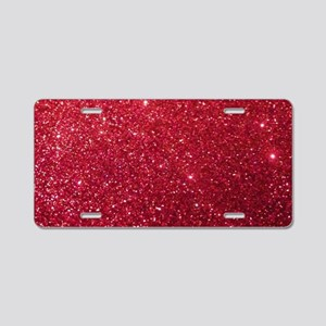 Girly Chic Red Glitter Aluminum License Plate