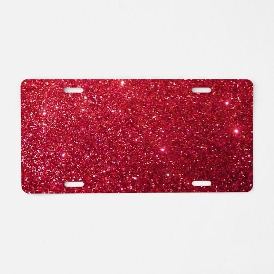 Girly Chic Red Glitter Aluminum License Plate