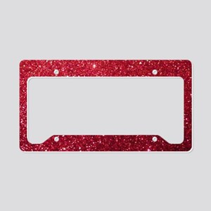 Girly Chic Red Glitter License Plate Holder