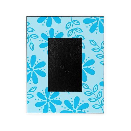 Aqua Blue Flowers Picture Frame