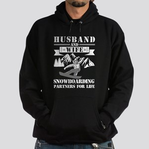 Husband And Wife Snowboarding Partne Hoodie (dark)