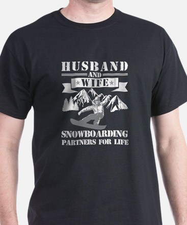 Husband And Wife Snowboarding Partners For T-Shirt