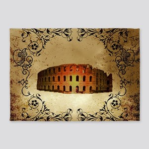 The Colosseum of Rome with floral elements 5'x7'Ar