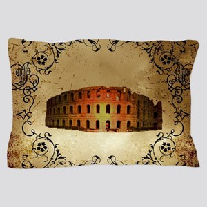 The Colosseum of Rome with floral elements Pillow