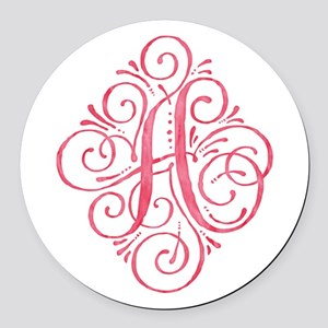 Watercolor Monogram Pink A Round Car Magnet