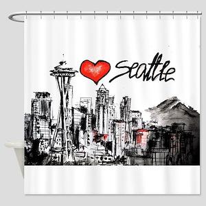 I Love Seattle Shower Curtain