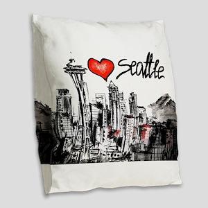 I love Seattle Burlap Throw Pillow