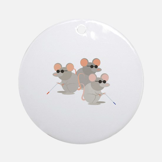 Three Blind Mice Round Ornament