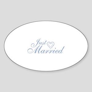 Just Married - Blue Heart Oval Sticker