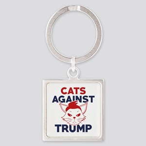 Cats Against Trump Square Keychain