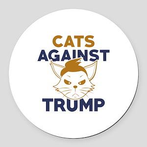 Cats Against Trump Round Car Magnet