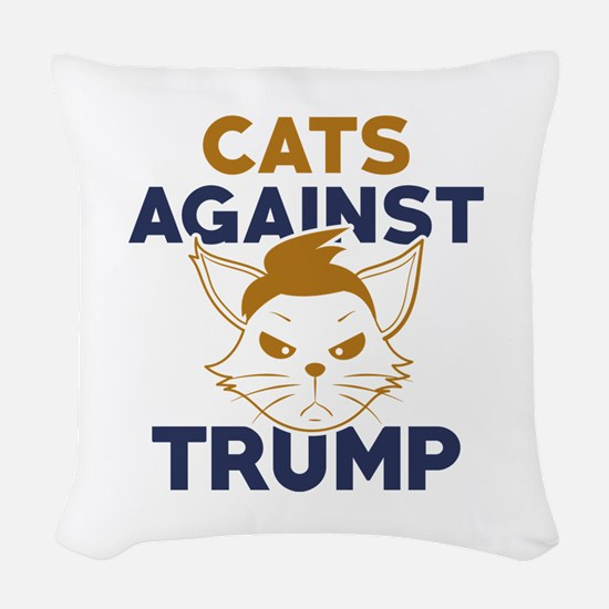 Cats Against Trump Woven Throw Pillow