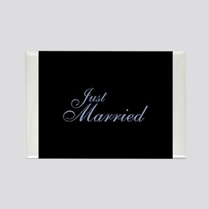 Just Married - Fancy Blue Rectangle Magnet