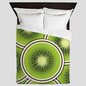 Funky kiwi fruit slices Queen Duvet