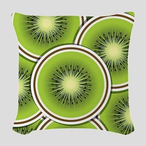 Funky kiwi fruit slices Woven Throw Pillow