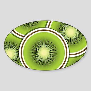 Funky kiwi fruit slices Sticker (Oval)