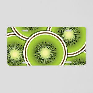 Funky kiwi fruit slices Aluminum License Plate