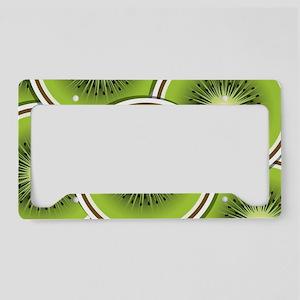 Funky kiwi fruit slices License Plate Holder