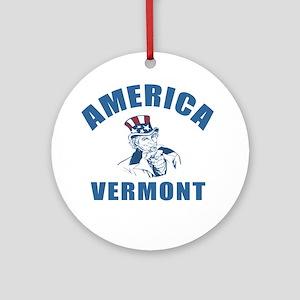 America State Vermont Designs Round Ornament
