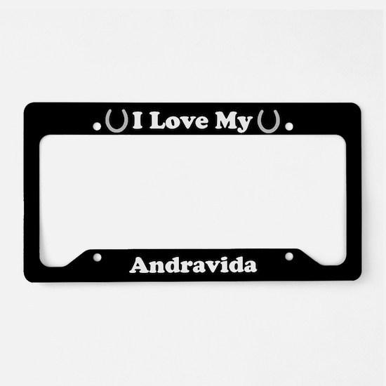 I Love My Andravida Horse License Plate Holder