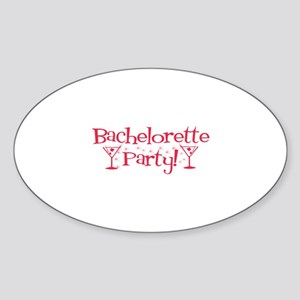 Bachelorette Party - Red Mart Oval Sticker