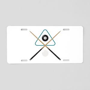 Pool Cue & Balls Aluminum License Plate