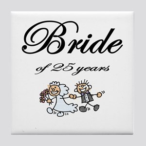 25th Wedding Anniversary Gifts Tile Coaster