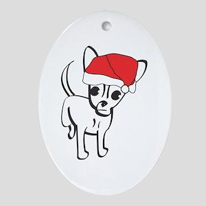 Santa Chihuahua Oval Ornament