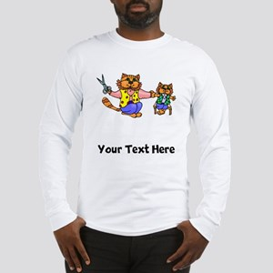 Cat Getting Hair Cut (Custom) Long Sleeve T-Shirt