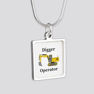Digger Operator Silver Square Necklace