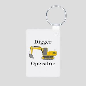 Digger Operator Aluminum Photo Keychain