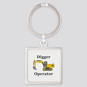Digger Operator Square Keychain