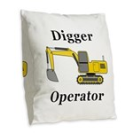 Digger Operator Burlap Throw Pillow