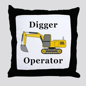Digger Operator Throw Pillow