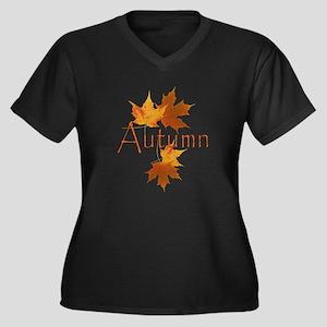 Autumn Leaves Women's Plus Size V-Neck Dark T-Shir