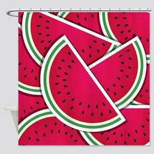 Funky watermelon wedges Shower Curtain