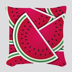 Funky watermelon wedges Woven Throw Pillow