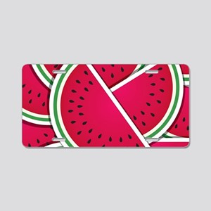 Funky watermelon wedges Aluminum License Plate
