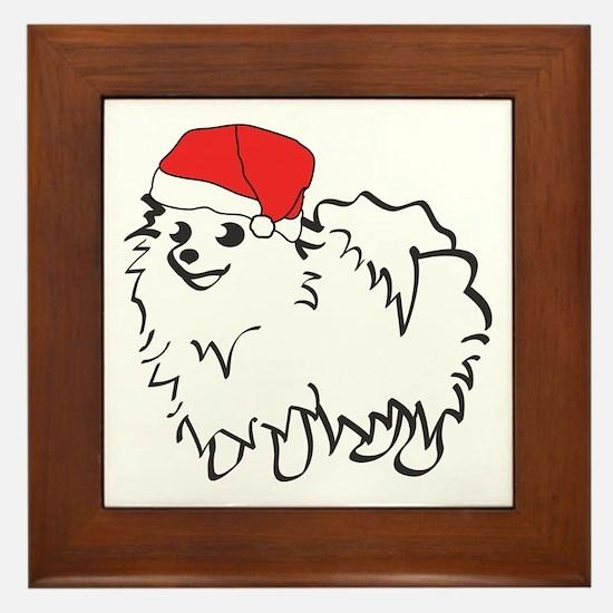 Santa Pomeranian Framed Tile